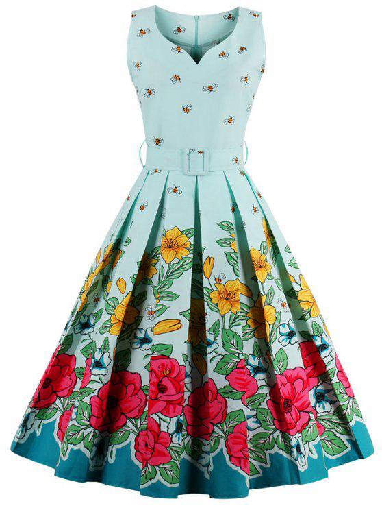 فستان ميدي طباعة الأزهار كرتون - أزرق فاتح 3XL