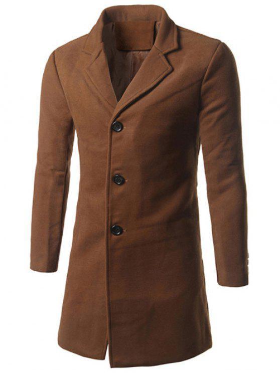 Notch risvolto Indietro Vent cappotto di lana - Cammello 2XL