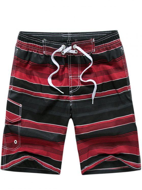 fashion Color Block Striped Panel Print Board Red Shorts - RED M