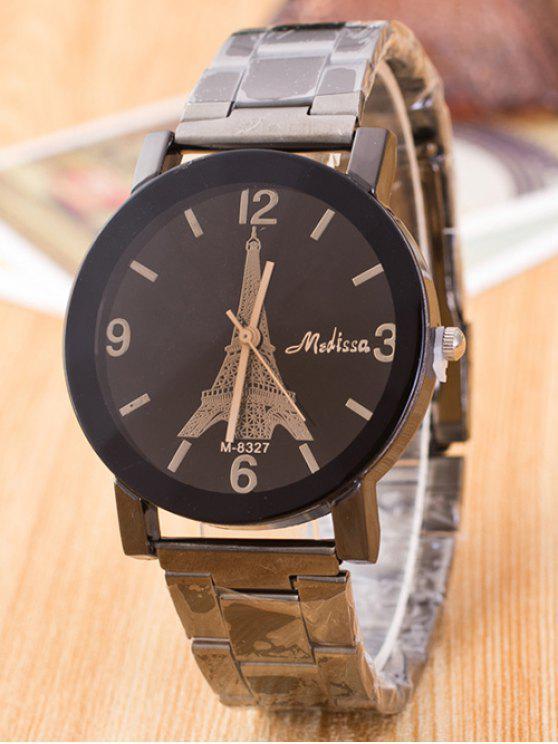 سبيكة كوارتز ساعة مع برج ايفل نحت - بندقية المعادن