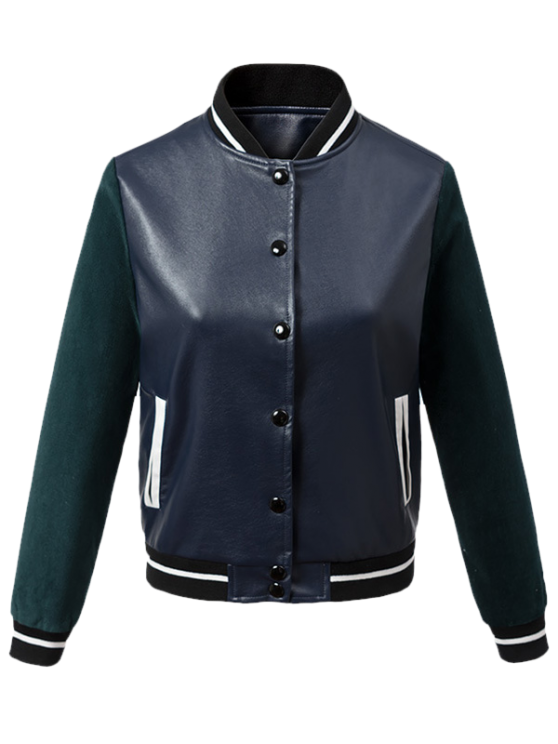 online Corduroy PU Leather Baseball Jacket - BLUE AND GREEN L