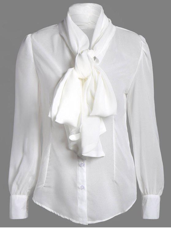lady Bow Tie See-Through Blouse - WHITE S