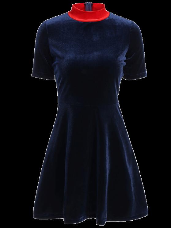 Terciopelo de montaje una línea de vestidos - Cadetblue S