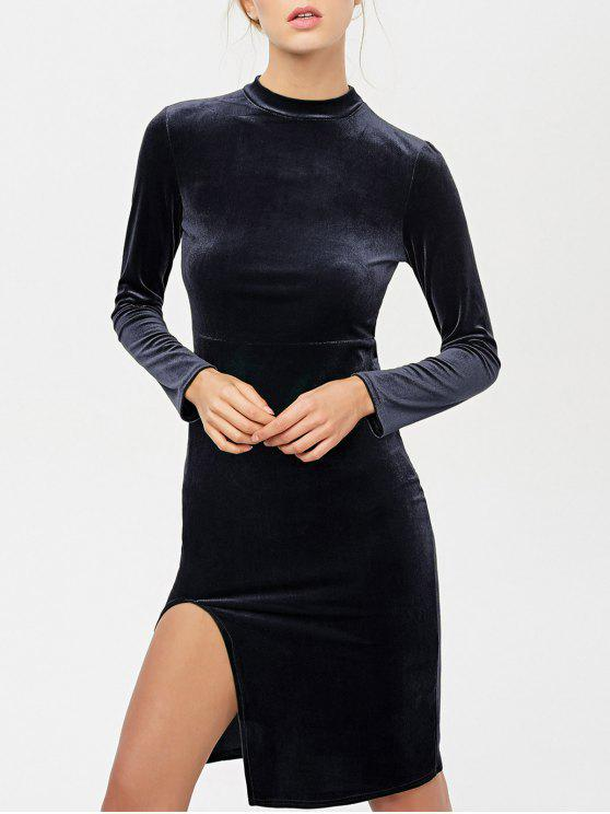 La raja del lado del vestido largo de terciopelo de manga - Negro M