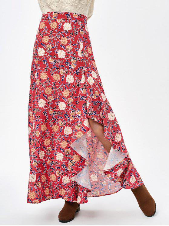 latest Asymmetric Maxi Floral Skirt - CLARET XL
