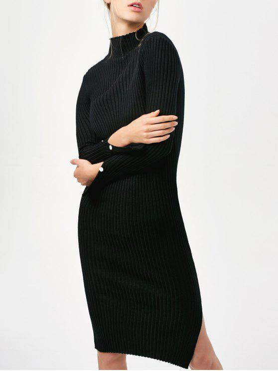chic Side Slit Bodycon Sweater Dress - BLACK ONE SIZE