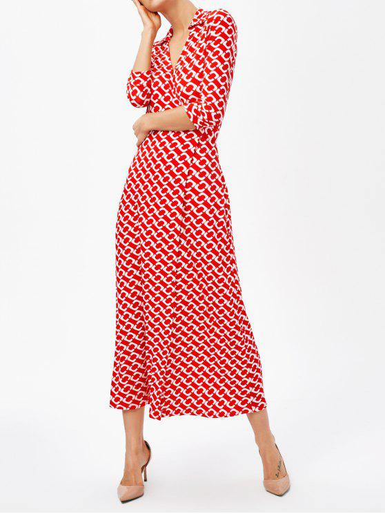 outfit High Slit V Neck Retro Print Maxi Dress - RED XL