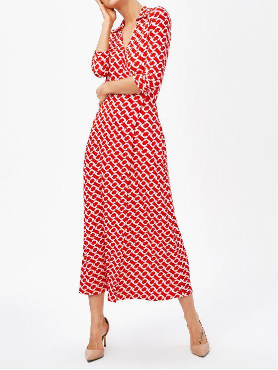 Robe longue avec col V fentes sur le devant motifs rétro - Rouge L