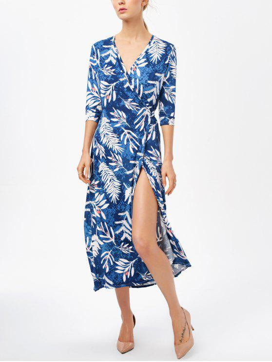 latest Printed Side Slit Surplice Maxi Dress - BLUE XL