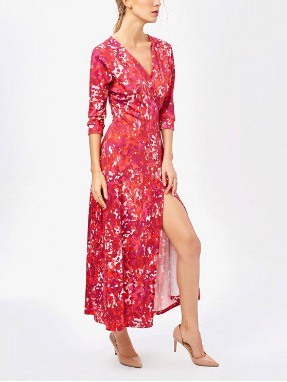 fancy Printed High Slit Wrap Maxi Dress - RED XL