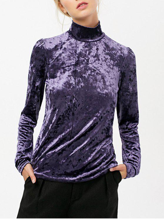 outfit High Collar Long Sleeve Velvet Top - PURPLE M