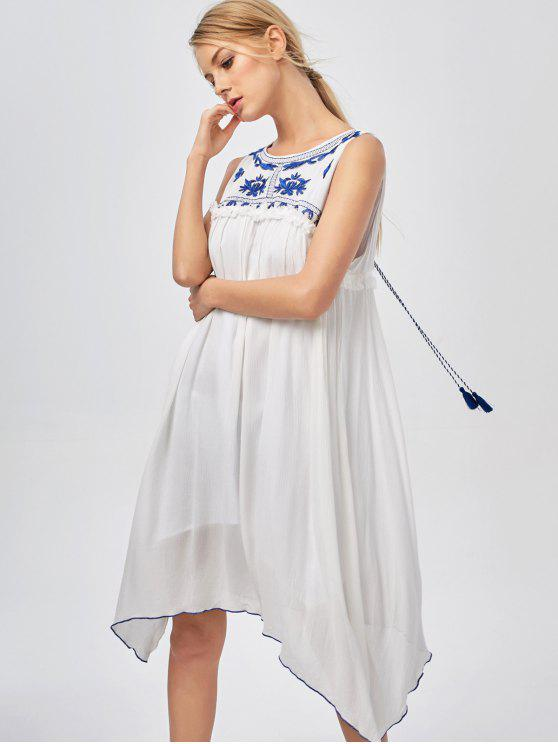 hot Hanky Hem Embroidered Bohemian Dress - BLUE AND WHITE S