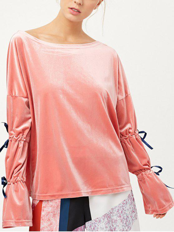 latest Boat Neck Split Sleeve Velvet Top - PINK M