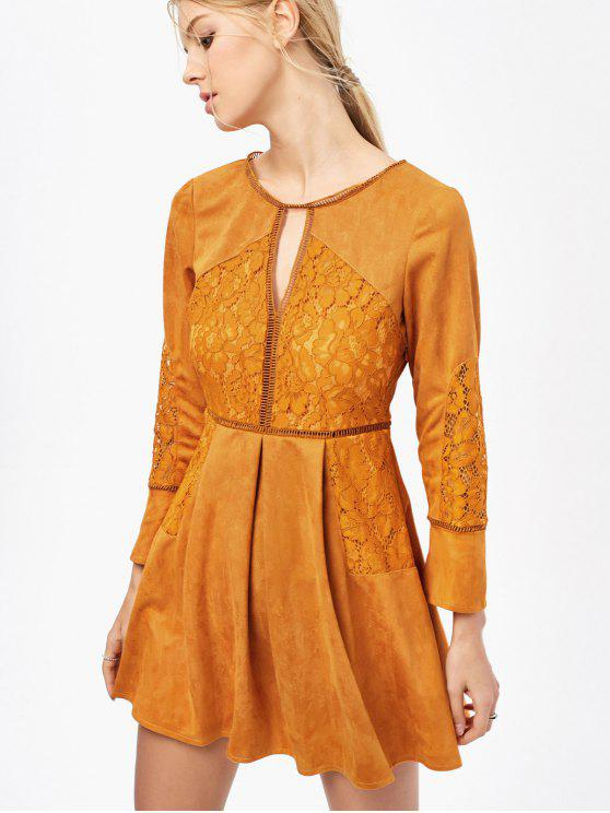 outfit Lace Insert Cut Out Long Sleeve Dress - GINGER 2XL