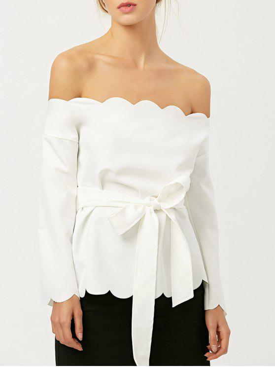 fashion Off The Shoulder Belted Scalloped Blouse - WHITE M
