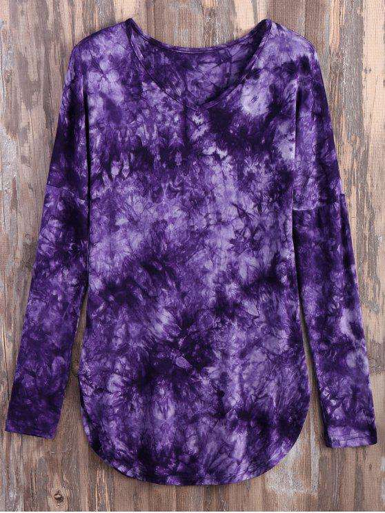outfits Tie Dyed Long Sleeves Tee - PURPLE M