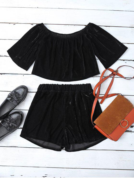 affordable Velvet Crop Top and Shorts - BLACK S