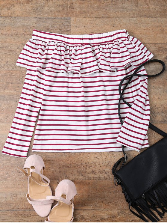 women Striped Off The Shoulder Ruffles Top - RED WITH WHITE L