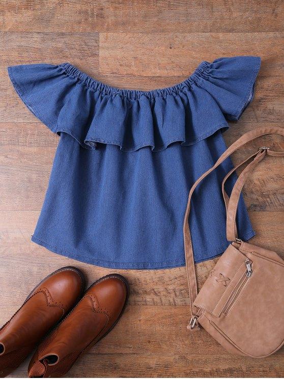 Top en denim à volants avec épaules dénudées - Denim Bleu S