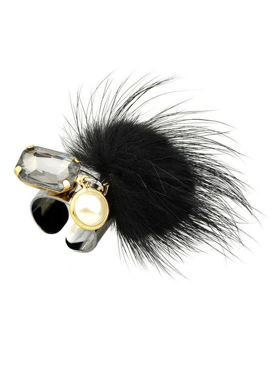 womens Fuzzy Ball Cuff Ring - BLACK