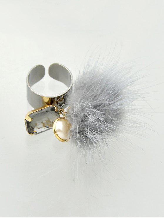 women Fuzzy Ball Cuff Ring - GRAY