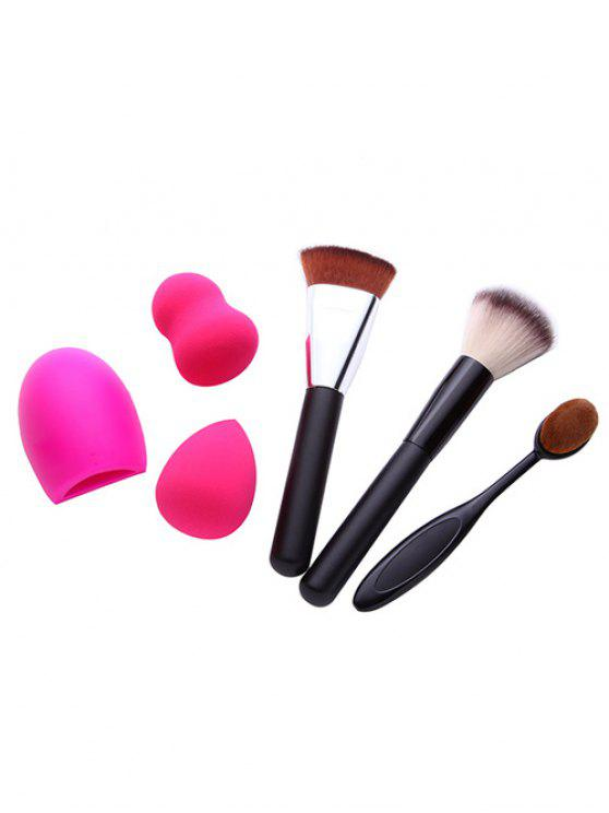 new 3 Pcs Makeup Brushes + Makeup Sponges + Brush Egg - BLACK