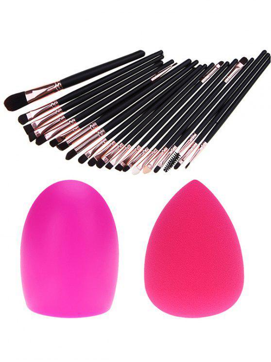 women 20 Pcs Eye Makeup Brushes + Makeup Sponge + Brush Egg - BLACK