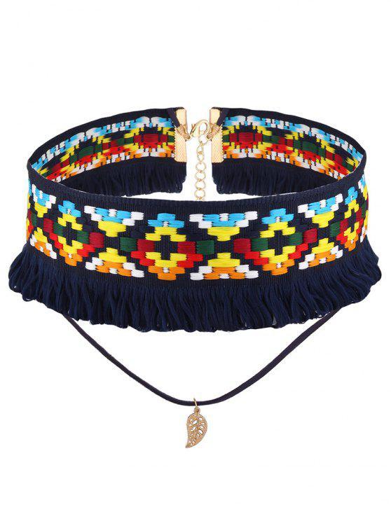 Cuerda de la hoja Collar Gargantilla de ganchillo - Azul