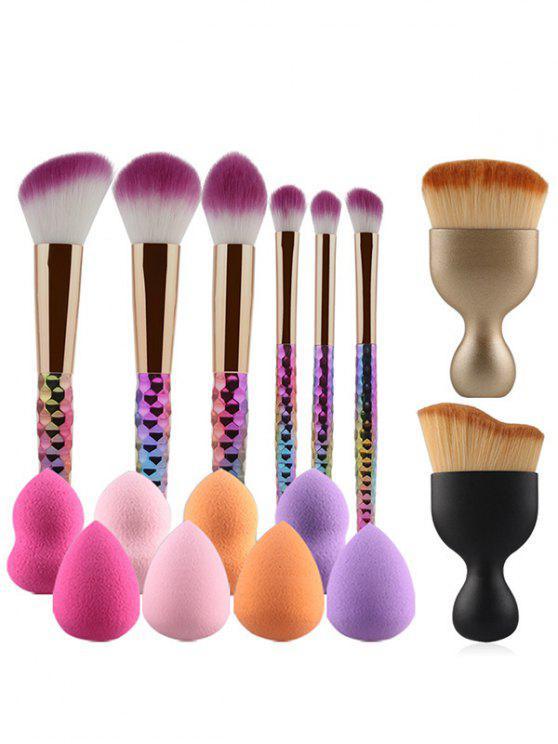 Ensemble de 8 brosses de maquillage à couleur dégardée et éponges de beauté - Multicolore