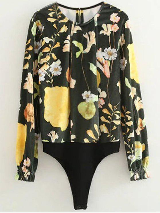 shops Floral Print Velvet Bodysuit - FLORAL M