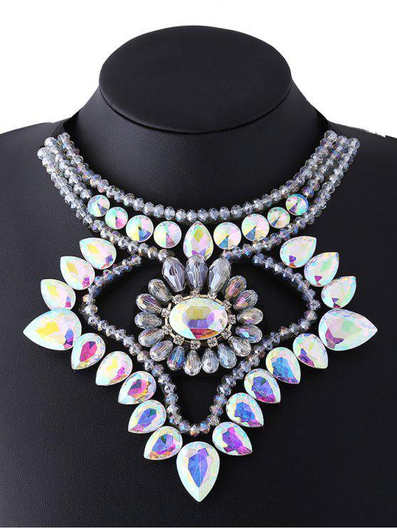 lady Faux Gem Ribbon Water Drop Necklace - COLORFUL