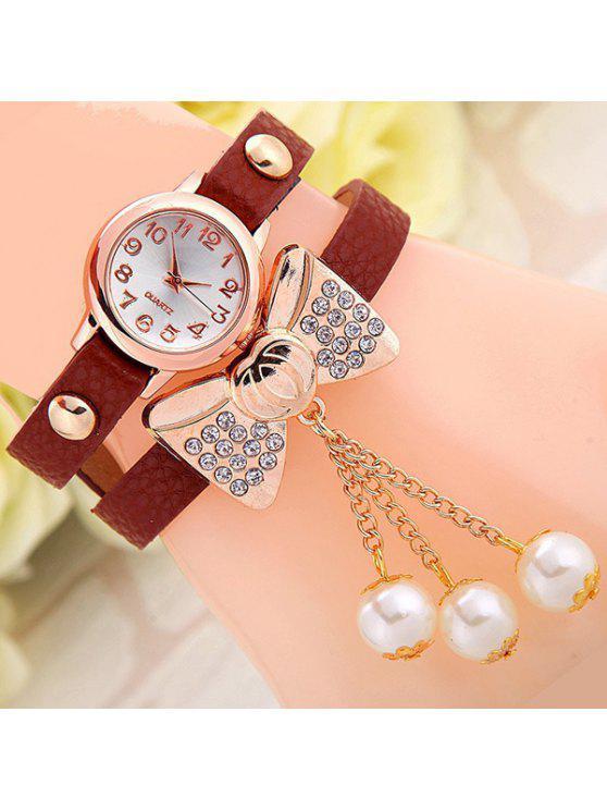 fashion Faux Leather Bowknot Bracelet Watch - BROWN
