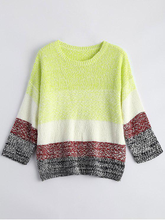 womens Loose Color Block Sweater - FLUORESCENT YELLOW ONE SIZE