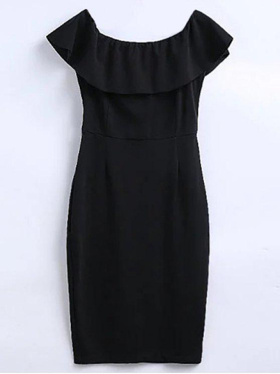 latest Off The Shoulder Ruffle Slit Work Dress - BLACK L