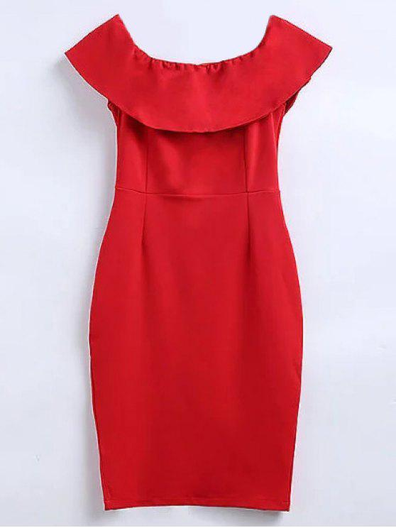 fancy Off The Shoulder Ruffle Slit Work Dress - RED M