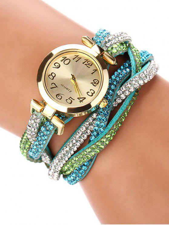 buy Rhinestone Studded Wrap Bracelet Watch - GREEN