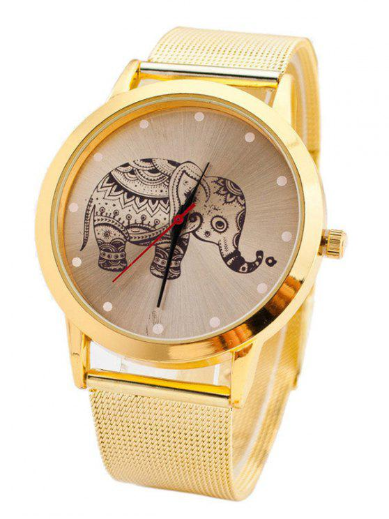 Montre à quartz bande motif filet cadran éléphant - Or