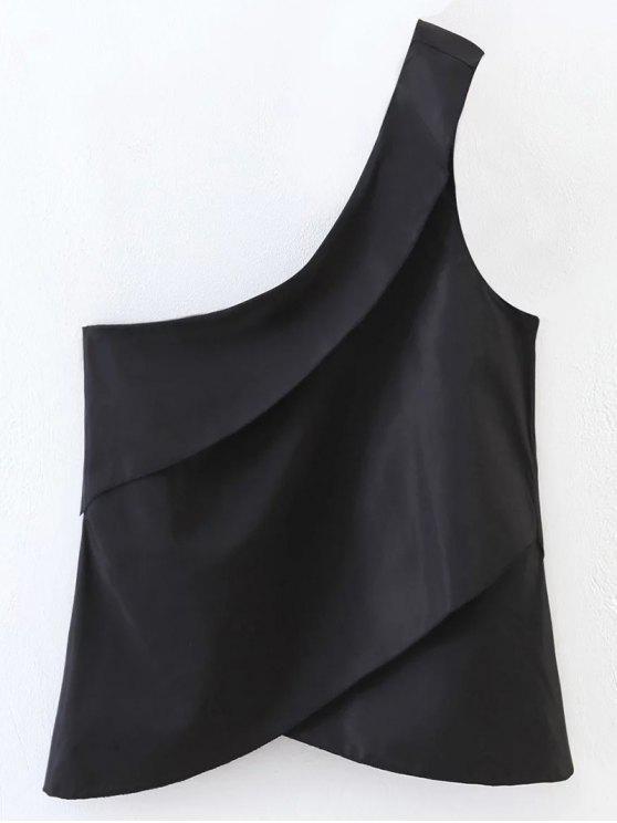 En capas de un hombro Top - Negro S