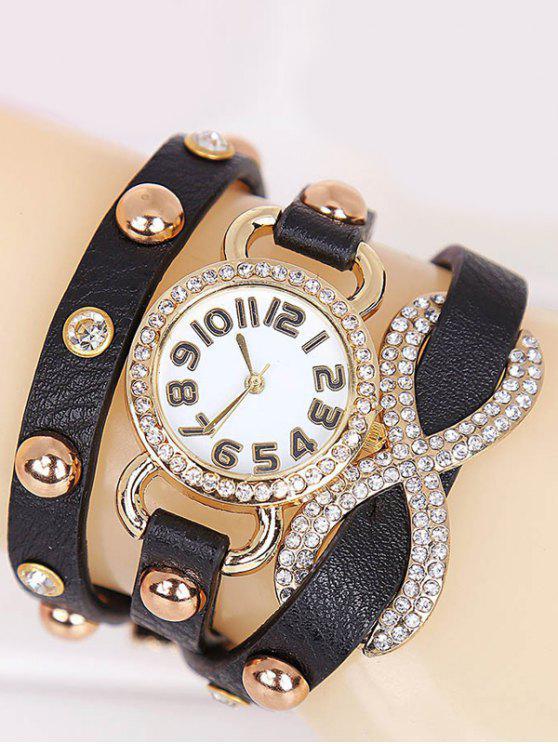 5a7f31ea5d 24% OFF] 2019 Rhinestone Infinite Wrap Bracelet Watch In BLACK | ZAFUL