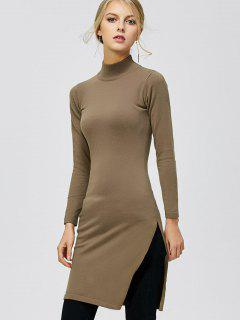 Mock Neck Side Slit Pullover Sweater - Dark Khaki L