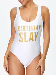 Birthday Slay Letter Swimwear - White Xl