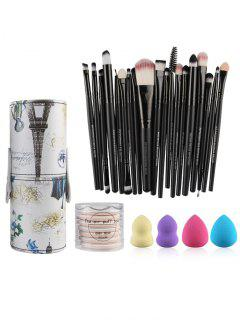Makeup Brushes Kit + Makeup Sponges + Air Puffs - Black