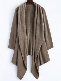 Open Front Asymmetrical Coat - Khaki S