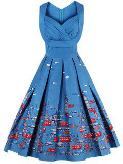 Sweetheart Neck Cartoon Print Pin Up Dress - Blue 3xl