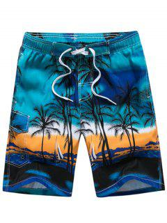 3D Coconut Tree Print Board Shorts - Blue L