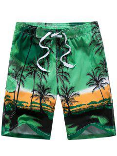 3D Coconut Tree Print Board Shorts - Green 2xl