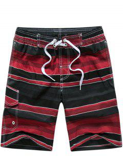 Color Block Striped Panel Print Board Red Shorts - Red M