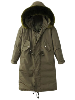 Fur Collar Drawstring Puffer Coat - Green M