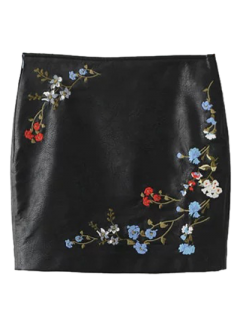 Faux Leather Floral Embroidered Skirt - Black S