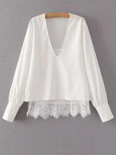 Panel De La Blusa De La Camiseta Con Cuello En V De Encaje - Blanco S